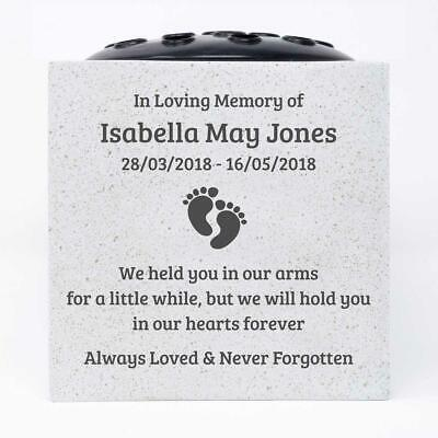 Personalised Baby Footprints Customised Memorial Graveside Flower Rose Bowl Vase