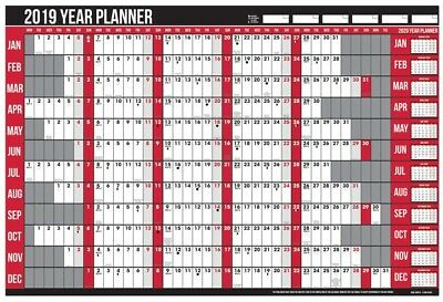 2019 Large Yearly Wall Planner Calendar Pen Stickers Holiday Laminated A1 Office