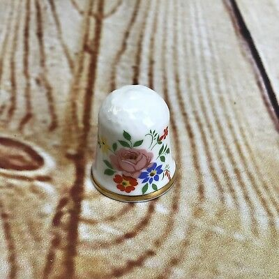 English Bone China Thimble Pink Rose Floral Heirloom Edition England Gold Trim
