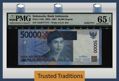 TT PK 145b 2005 INDONESIA 50000 RUPIAH LUCKY SERIAL # 777777 PMG 65 EPQ GEM UNC!