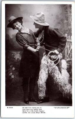 """Vintage COWGIRL Cowboy Real Photo RPPC Postcard """"At Last I've Roped You In"""""""