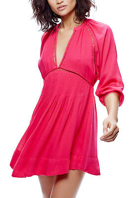 ee05e06071a Free People Go Lightly Swing Dress Sz S Hot Pink w  Openwork Stitching NWT   128