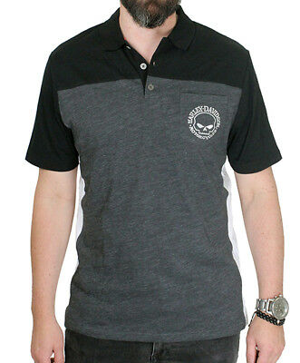 Harley-Davidson Mens Willie G Skull and Fire Charcoal Short Sleeve Polo Shirt