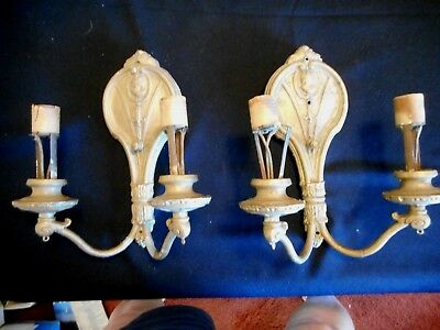 Antique Art & Craft Pair Of Double Brass Electric Light Heavy Wall Fixture Scone