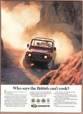 """1995 Land Rover Defender 90 Ad """"Who says the British..."""" Print Ad"""