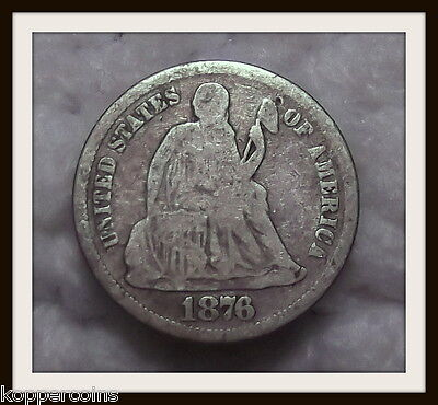 1876-CC 10C Liberty Silver Seated Dime