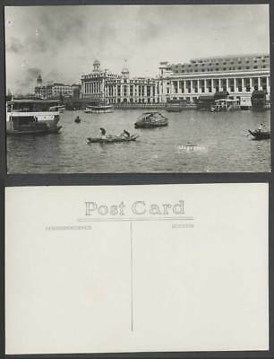 Singapore Old Real Photo Postcard Natives Rowing Boats Canoes with Cargo Harbour