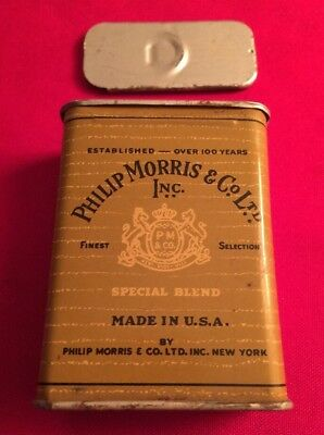Vintage PHILLIP MORRIS CO SPECIAL BLEND CIGARETTE PACK Advertising Can Tin Empty