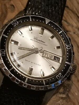 VTG LUCERNE Day Date Calendar 5ATM Mens Dive Watch 12623 White Face Self-winding