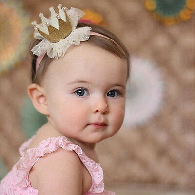 Cute Kids Baby Girl Toddler Lace Pearl Crown Head Band Headwear Accessories New