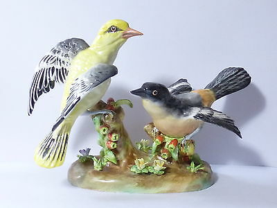 Vintage 1950's Crown Staffordshire Shrike & Other Bird Figurine Signed J T Jones