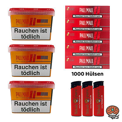 3 x Pall Mall Allround Mega Box Tabak à 185g, Authentic Hülsen, Feuerzeuge