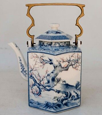 Vintage Chinese Hexagon 6 Sided Porcelain Hand Painted Tea Pot Brass Handle