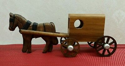 Wooden Amish Horse And Buggy Lancaster PA Dated 1996 Miniature