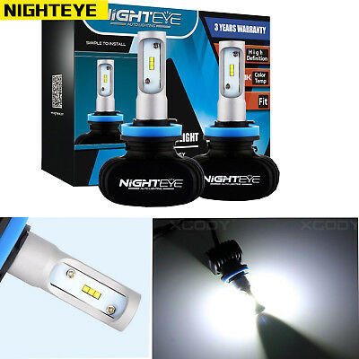 NIGHTEYE H11 LED Headlight KIT 50W 8000LM Car White Beam 6500K Fog Bulbs White