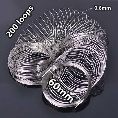200 Loops 0.6mm 60mm Memory Steel Wire Cuff Bangle Bracelet  Jewelry Making DIY