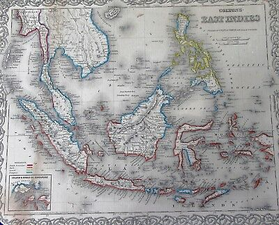 1855 COLTON'S East INDIES SE Asia Singapore large antique MAP nice border