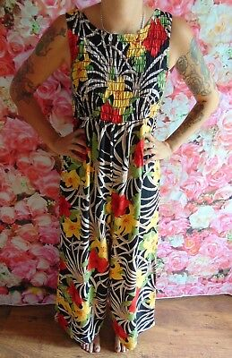 Vintage 80s Floral Go Go Romper JumpSuit size 14/16 by Molly Malloy (JS73)