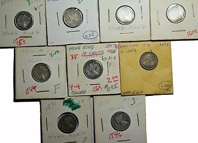 Mixed lot of 9 Hong Kong 10 cents Queen Victoria British Silver Coins KM#6.3