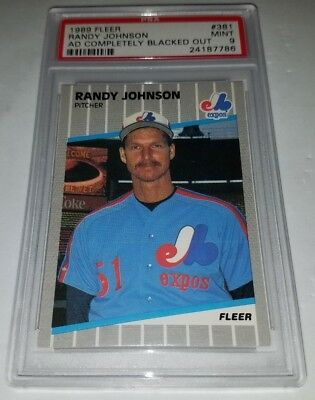 1989 Fleer 381 Randy Johnson Rookie Card Rc Marlboro Ad Blacked Out Psa 9 Mint