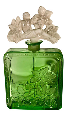 Rare Antique Art Deco Heinrich Hoffmann Green Glass Perfume Bottle  Nude Stopper