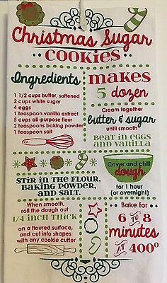 Christmas Sugar Cookie Recipe  Kitchen Tea Towel Rolling Pin Bowl Cutters