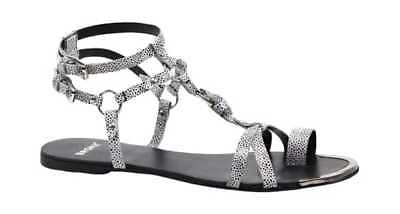 Bronx Women's Ask Away White/Black Speckled Leather Ankle Straps