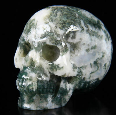 """Green Moss Agate Realistic Carved Gemstone Crystal Skull 2"""" Inch SK12"""