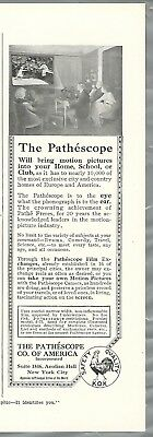 1916 Pathéscope advertisement, early Motion Picture Projector, half-page ad