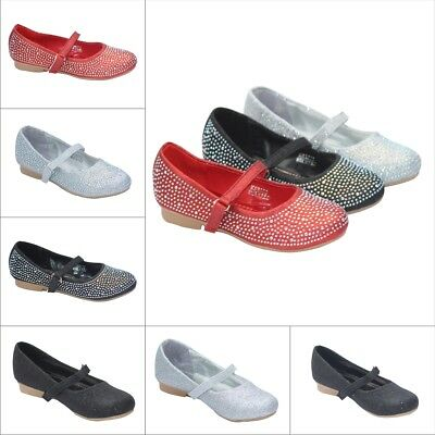 Girls Glitter Diamante Flat Strappy Shoes Pumps Parties Wedding Special Ocassion