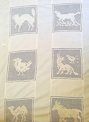 OOAK vintage handmade childs cotton bedspread 28 filet lace animal insets 83x52""