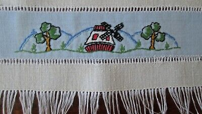 """2 antique linen hand towels, great hand embroidered band, Dutch motifs 21x13.5"""""""
