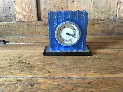 Art Deco mantel clock - frosted blue glass with blue floral designs - a/f