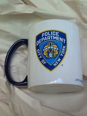 11 ounce NYPD shield city of new york white mug blue handle POLICE DEPARTMENT