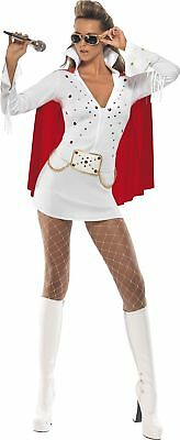 Women s Elvis Viva Las Vegas Costume, Dress   Cape, Size: M, Colour: White, 3325