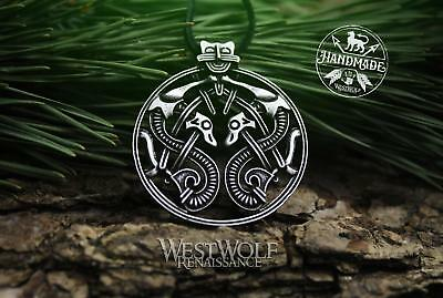 Viking Twin Dragons Pendant - Borre Art Style --- Norse/Celtic/Steel/Necklace