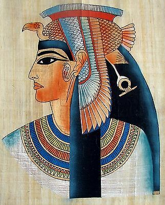 "Egyptian Hand-painted Papyrus Artwork: Queen Nefertari 12.5"" x 16.5 "" IMPORTED"