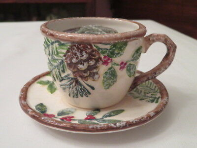 "Yankee Candle Pinecone Teacup And Saucer & Vintage "" Christmas Fir "" Votive New"