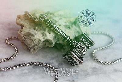 """Viking """"Mjolnir"""" Hammer Pendant with 24 Inch Chain in Silver or Gold - Warcraft"""