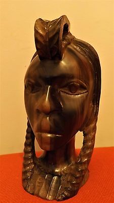 African Bust Of An Ethnic Female Made Of Polished  Solid Dark Wood