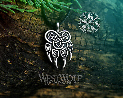 Knotted Wolf Paw Pendant in Silver or Gold - Viking/Celtic/Norse/Wolves/Odin