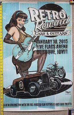 Retro Rewind blue hot rod poster Kustom Kulture Harley Pin up Bettie page