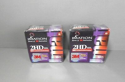 TWO  IMATION 2HD 10-PACK FLOPPY DISK MAC Formatted  NOS SEALED (20 disk total)