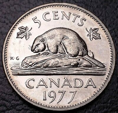 UNC 1977 Canada 5 Cents Nickel ***Low 7 Variety*** BU Mint Condition Coin