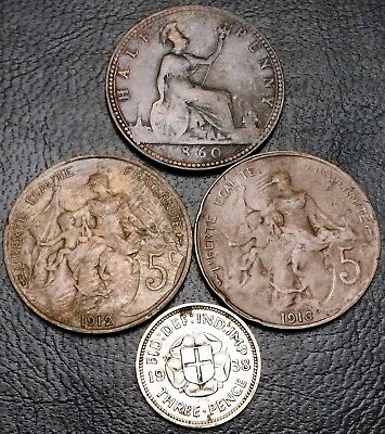 Lot of 4x France & Great Britain Coins HalfPenny 3 Pence 5 Centimes 1860 - 1938