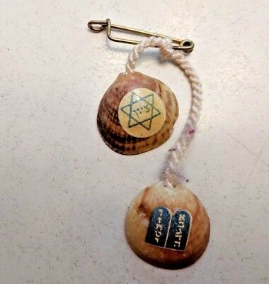 old costume jewelry Jewish Pin with 2 shells, 10 commandments and star