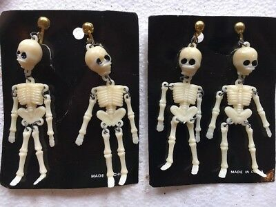 Vintage Halloween Skeleton Clip On Earrings Lot Of 2 Pairs