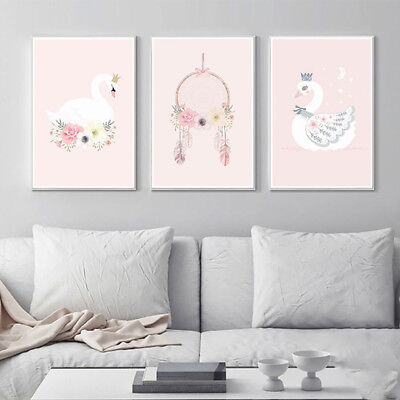 Nordic Swan Flower Canvas Painting Art Unframed Picture Kids Room Wall Decor Hot
