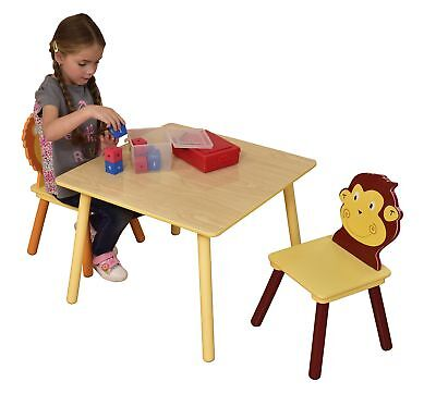 Jungle Table and Two Chair Set, Wood, Multi-Colour