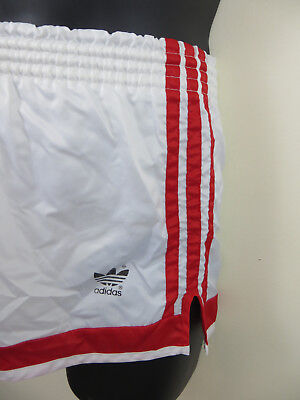 Vintage Adidas 80s 1980s Shorts White Red Retro Vtg Shiny Nylon Mens Small 5 D5